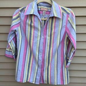 Jamaica Bay 3/4 sleeve striped button up shirt top